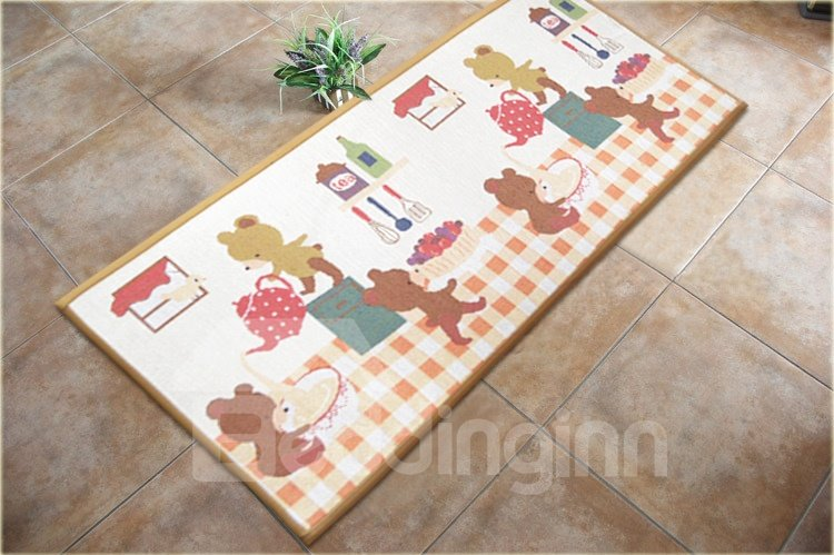 Amazing Cute Bear and Teaport Pattern Non-slip Area Rug
