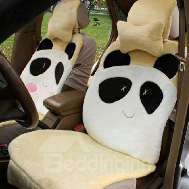 Cute And Lovely Panda Cartoon Pattern Design Plush Universal Car Seat Cover