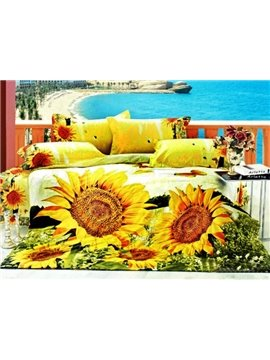 Bright Yellow Sunflower Print 4-Piece Cotton Duvet Cover Sets