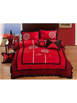 Red Flower Embroidery 4-Piece Cotton Princess Duvet Cover Sets
