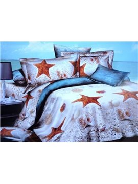 Starfish and Conch on Beach Print 4-Piece Cotton 3D Duvet Cover Sets