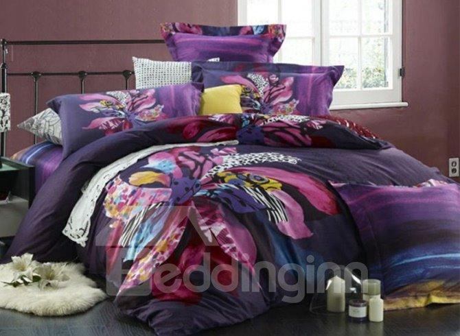 Very Soft Luxury Flower Print 4-Piece Cotton Duvet Cover Sets