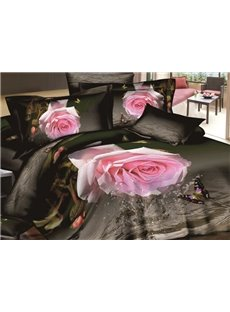 Tempting Pink Rose and Butterfly Print 4-Piece Cotton Duvet Cover Sets