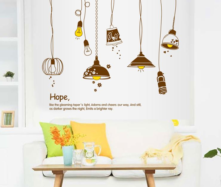 Amazing Beautiful Light Bulbs and Letters Wall Stickers