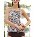 Pink Leopard Pattern Free Wire Swimwear with Falsies Two-piece Tankini