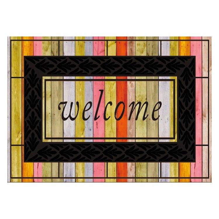 Retro Beautiful Color Welcome Design Non-slip Flocking Doormat