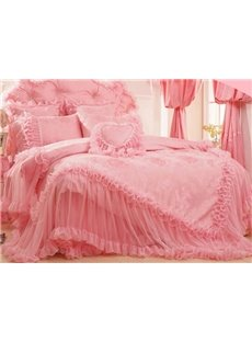 Pretty Pink Lace Edging Flower Embroidery 6-Piece Princess Duvet Cover Sets