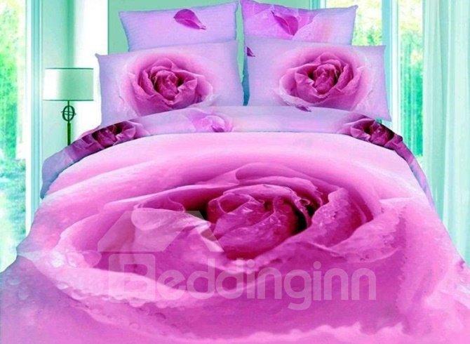 Purple Peony Flower Bud Print 4-Piece 3D Duvet Cover Sets