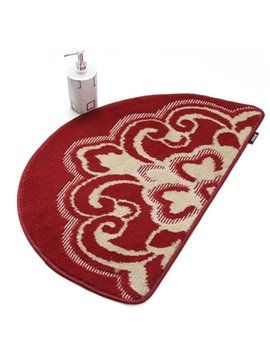 Elegant Patterns Semi-circle Non-slip Suede Bath Rug