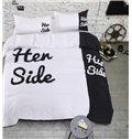 Unique Design His Side and Her Side Trim 4-Piece Cotton Duvet Cover Sets
