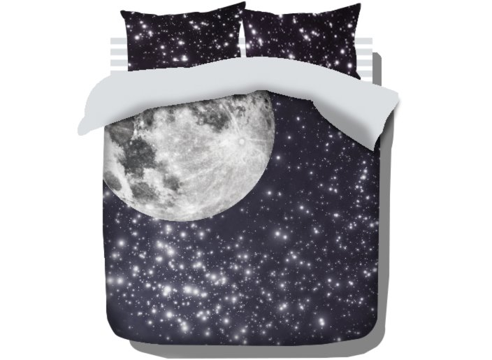 Bright Moonlight and Shining Star Print 4-Piece Cotton Duvet Cover Sets