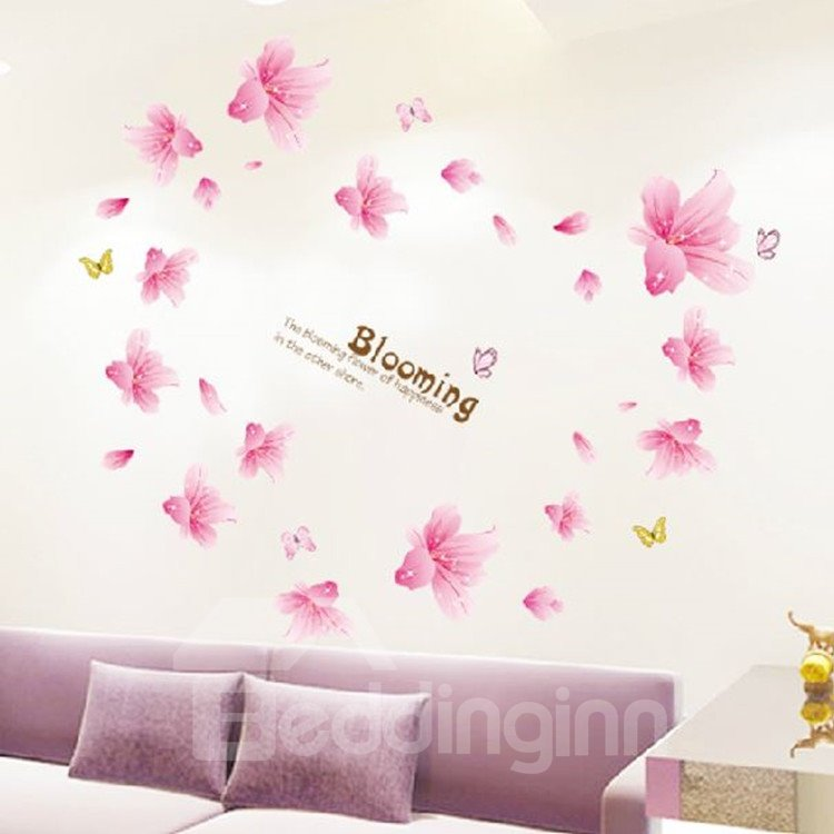 Elegant Romantic Blooming Lily Flowers Wall Stickers