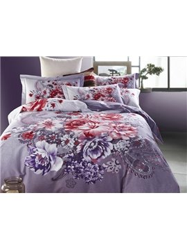 Paisley Pattern and Colorful Flower Print 4-Piece Cotton Duvet Cover Sets