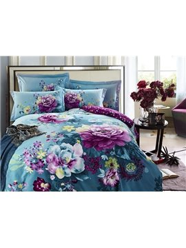 Purple Flower with Blue Background Cotton 4-Piece Duvet Cover Sets