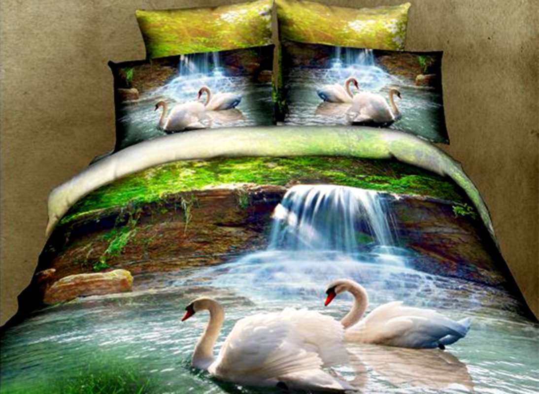 White Swans and Waterfall Print 4-Piece Polyester 3D Duvet Cover Sets