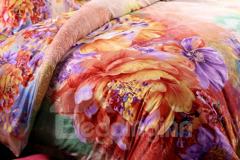 Beautiful Garden Multi-Color Flower  Print 4-Piece Cotton Duvet Cover Sets