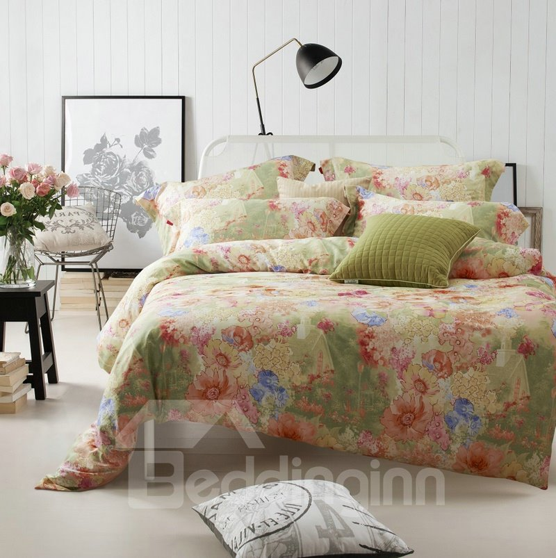 Comfotrable Flower Oil Painting Print 4-Piece Cotton Duvet Cover Sets