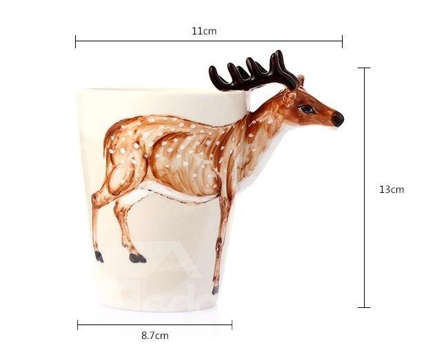Amazing Creative Sika Deer Design Ceramic Hand Painting Cup