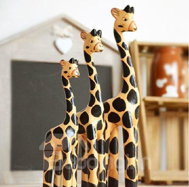 Elegant Pastoral Style Creative Three-piece Giraffes Ornament