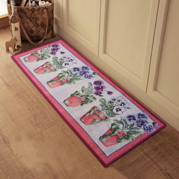 beautiful flower vases pattern anti slip kitchen area rug