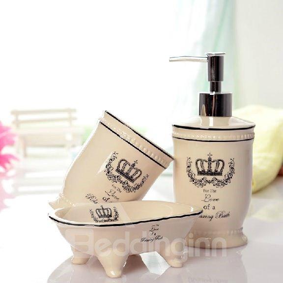 Quality crown print ceramic bathroom accessory for Good quality bathroom accessories