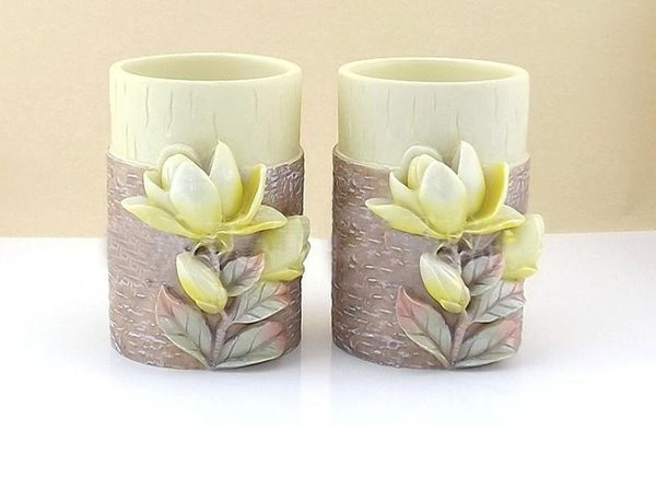 Magnolia Pattern Resin 5 Pieces Bathroom Accessories