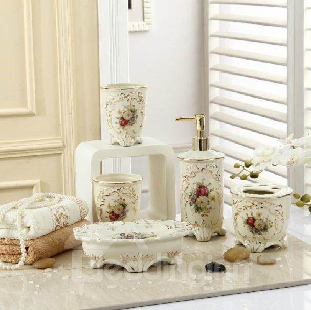 Fancy Romantic Colorful Flowers Print Decorative Ivory Porcelain Bathroom Accessory