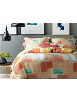 Minimalist Multi-Color Oil Painting Print 4-Piece Cotton Duvet Cover Sets