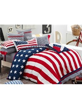 High Quality Stars And Stripes 4-Piece Cotton Duvet Cover Sets
