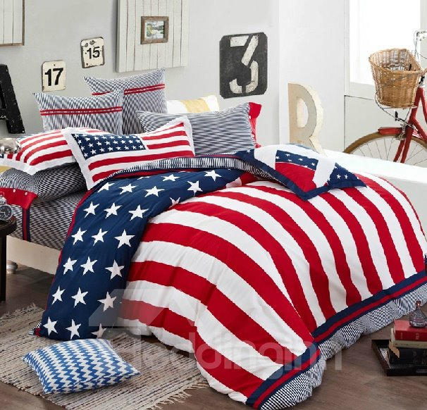 High Quality Stars And Stripes 4-Piece Cotton Duvet Cover