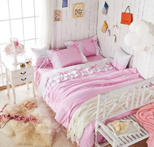 High Quality Sweet Princess Style 4-Piece Cotton Duvet Cover Sets