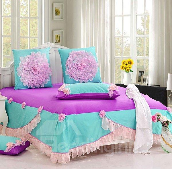 Romantic Pink Lace Flowers Princess Style Cotton 6-piece Bedding Sets/Duvet Cover