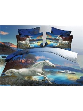 White Horse and Swan Couples Print 4-Piece Polyester 3D Duvet Cover Sets