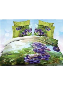 Charming Purple Grape Print 4-Piece Polyester 3D Duvet Cover Sets