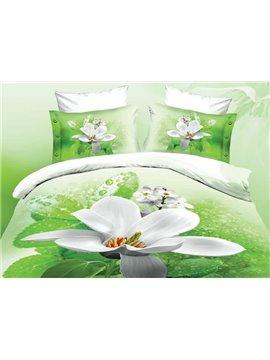 Fancy White Flower Print 4-Piece Polyester 3D Duvet Cover Sets