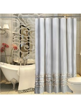 Lacey Stripe Pattern Polyester Shower Curtain