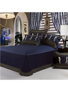 Fabulous Noble Dark Blue with Figure and Golf Pattern 4 Piece Bedding Sets