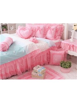 Sweet Princess Pink Lace with Bow 4 Piece Bedding Sets