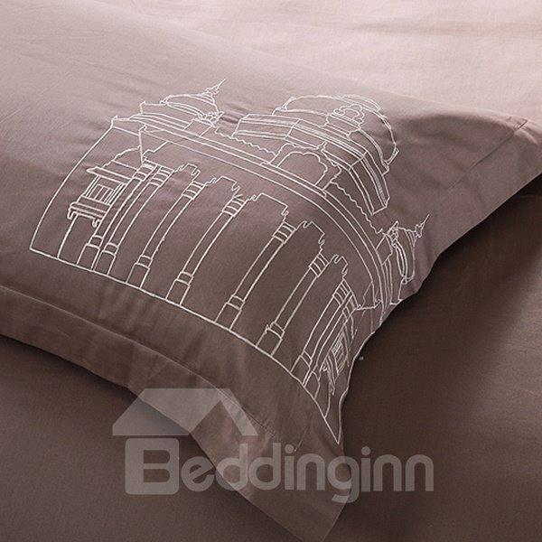High Quality Print Gray Eiffel Tower 4 Piece Bedding Sets