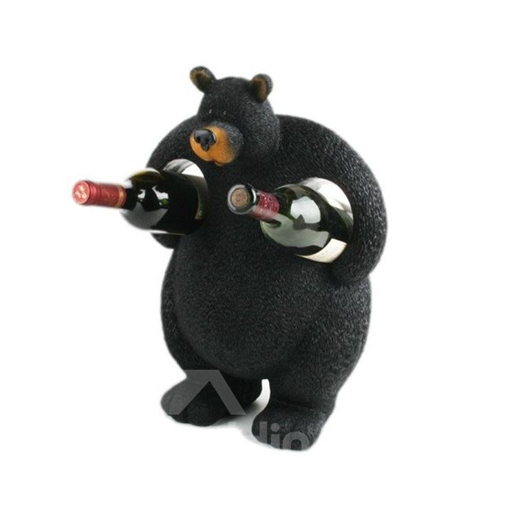 Hot Selling Stunning Creative Black Bear Wine Rack