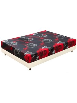 Quality Red Roses Blossom Print 3D Fitted Sheet