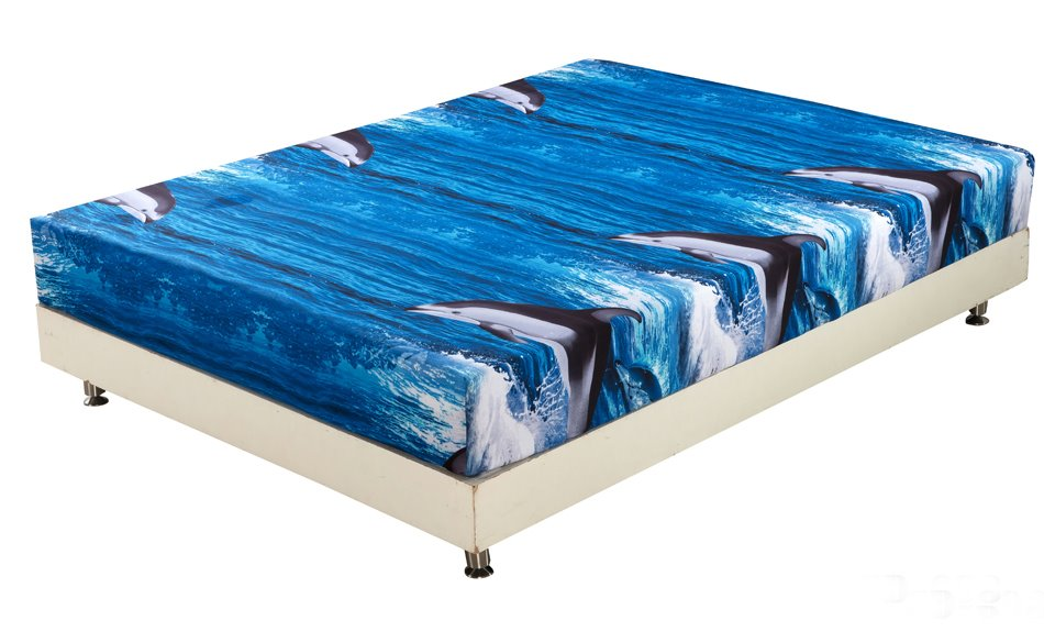 Quality Lifelike Dolphin in Water Print 3D Fitted Sheet