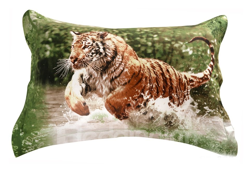 Quality Lifelike Tiger in Water Print 3D Two-piece Pillowcases
