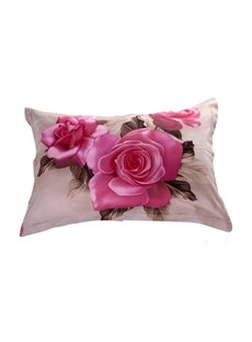 Fancy Vivid Flower Print 3D Two-piece Full Cotton Pillowcases