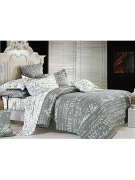 High Quality Pure Alphabet Fashion Style 4-Piece Cotton Duvet Cover Sets