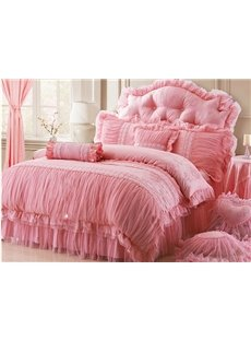 New Arrival Romantic Lace Style 4-Piece Cotton Duvet Cover Sets