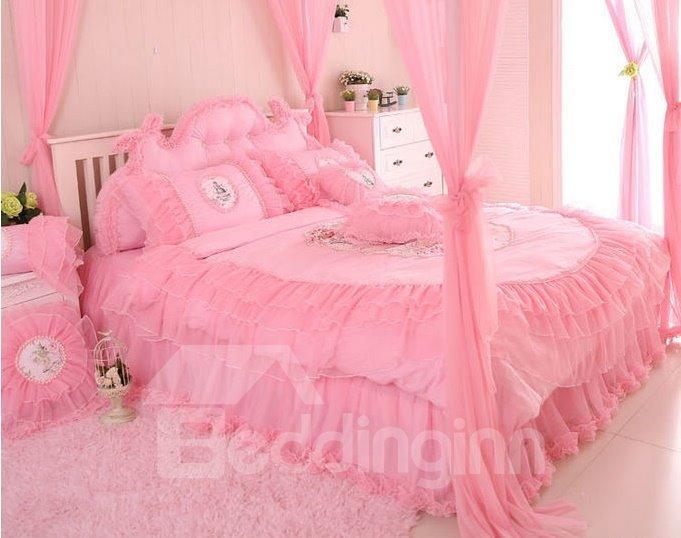 Cinderella Style Lovely Flowers Plus Lace 4-Piece Cotton Duvet Cover Sets