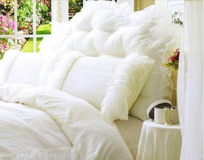 High Quality Pure Color Concise Lace Pattern 4-Piece Cotton Duvet Cover Sets