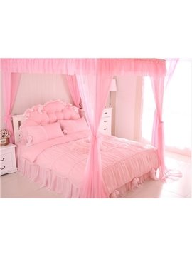High Quality Elegant Bowknot And Lace Pattern 4-Piece Cotton Duvet Cover Sets
