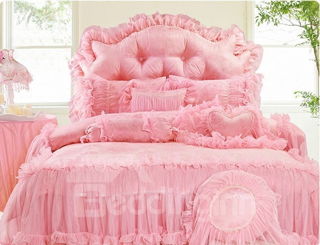 New Arrival Soft Trimming Lace 4-Piece Cotton Duvet Cover Sets